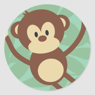 Monkey Business Round Stickers