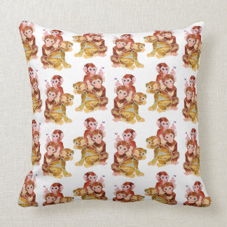 """Monkey Business"" Throw Pillow"