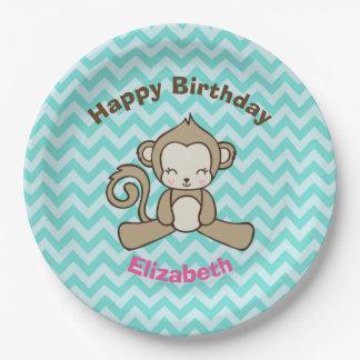 Monkey Cartoon Cute Kawaii Happy Birthday 9 Inch Paper Plate