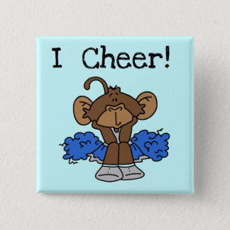 Monkey Cheerleader Blue and Gray Tshirts and Gifts 2 Inch Square Button