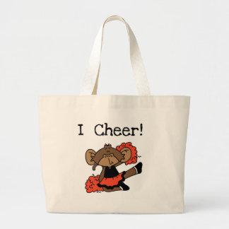 Monkey Cheerleader Orange and Black Large Tote Bag