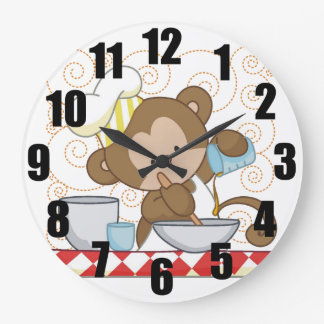 Monkey Chef Large Kitchen Clock
