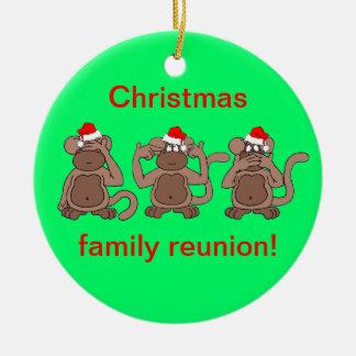 monkey Christmas Ceramic Ornament