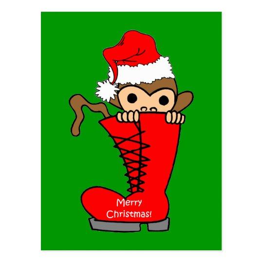 monkey Christmas Postcard