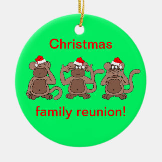 monkey Christmas Round Ceramic Ornament