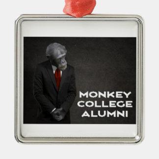 Monkey College Alumni Association Silver-Colored Square Ornament