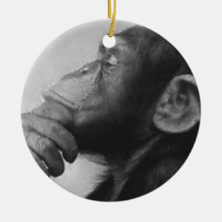monkey college round ceramic ornament