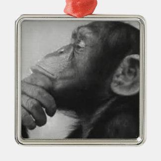 monkey college Silver-Colored square ornament