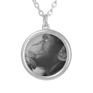 monkey college silver plated necklace