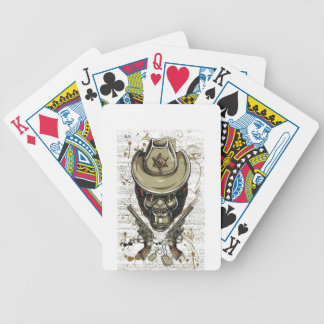 monkey cowboy skull with twin guns bicycle playing cards