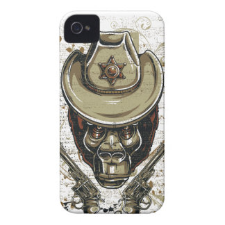 monkey cowboy skull with twin guns Case-Mate iPhone 4 cases