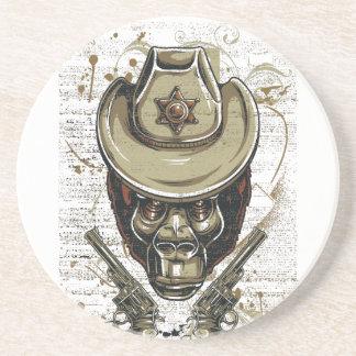 monkey cowboy skull with twin guns coaster
