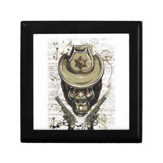 monkey cowboy skull with twin guns jewelry box