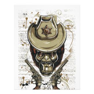 monkey cowboy skull with twin guns letterhead