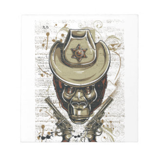 monkey cowboy skull with twin guns notepad
