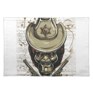 monkey cowboy skull with twin guns placemat