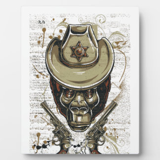 monkey cowboy skull with twin guns plaque
