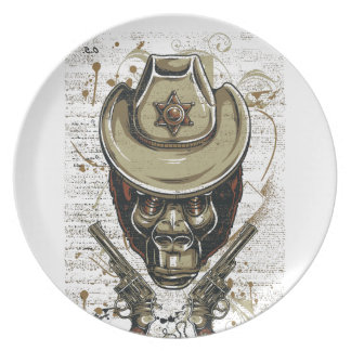 monkey cowboy skull with twin guns plate