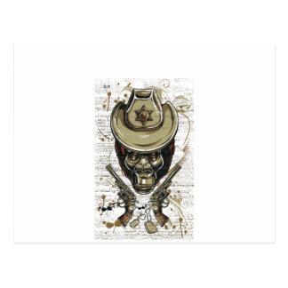 monkey cowboy skull with twin guns postcard