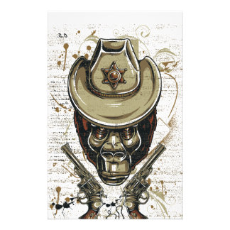 monkey cowboy skull with twin guns stationery