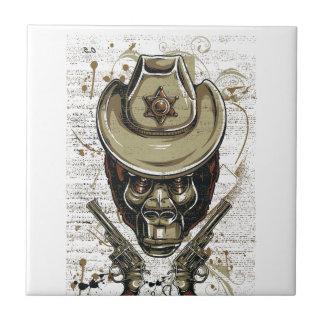 monkey cowboy skull with twin guns tile
