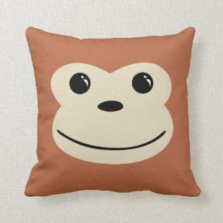Monkey Cute Animal Face Design Throw Pillow