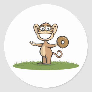 Monkey Donuts Classic Round Sticker