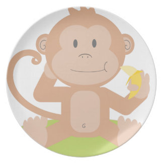 Monkey Eating Banana Plate