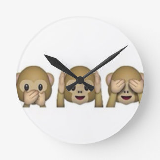 Monkey-Emoji - laughing monkey cartoon funny Round Clock