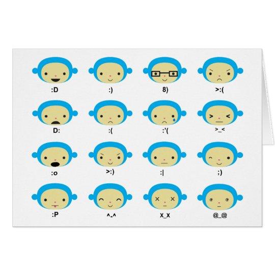 Monkey Emoticons Greeting Card