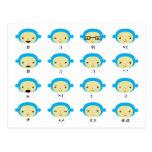Monkey Emoticons Postcard