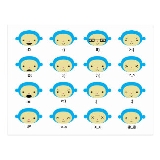 Monkey Emoticons Postcard