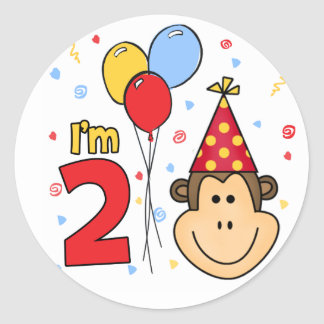 Monkey Face  2nd Birthday Classic Round Sticker