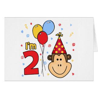Monkey Face 2nd Birthday Invitation Note Card