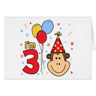 Monkey Face 3rd Birthday Invitations Note Card