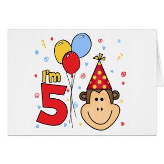 Monkey Face 5th Birthday Invitation Note Card