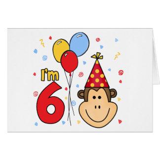 Monkey Face 6th Birthday Invitation Note Card
