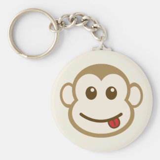 Monkey Face Vector Art Basic Round Button Keychain