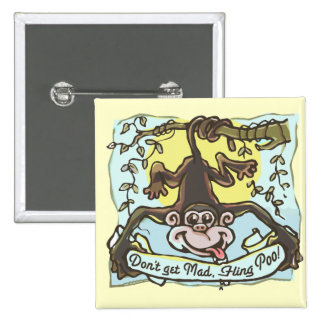 Monkey flings Poo by Mudge Studios 2 Inch Square Button