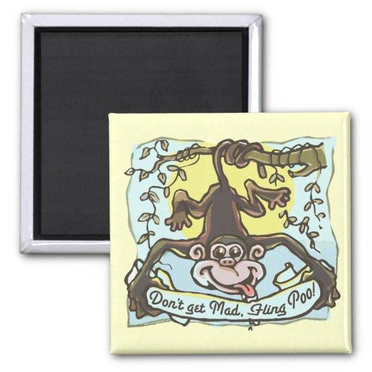 Monkey flings Poo by Mudge Studios Square Magnet