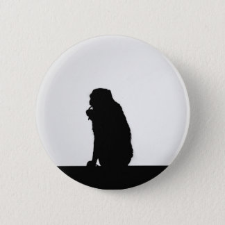 Monkey flossing silhouette photo 2 inch round button