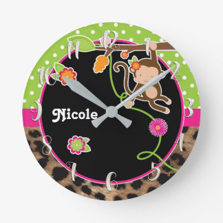 Monkey & Flowers Pink Green Safari Chic Customized Round Clock
