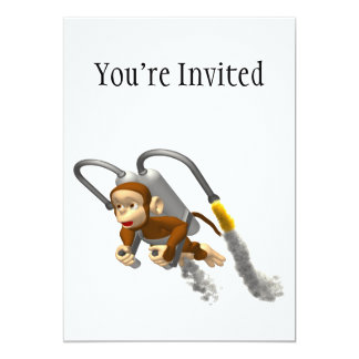 """Monkey Flying With Jetpack 5"""" X 7"""" Invitation Card"""
