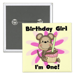 Monkey Girl 1st Birthday Tshirts and Gifts 2 Inch Square Button