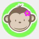 Monkey-girl-green Stickers