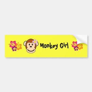 Monkey Girl Island Flower Bumper Sticker