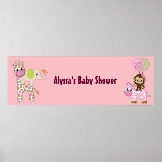 MONKEY Girl Jungle Baby Shower Banner JJ Posters