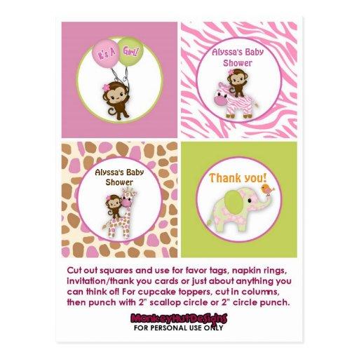monkey girl jungle baby shower cupcake topper jj zazzle