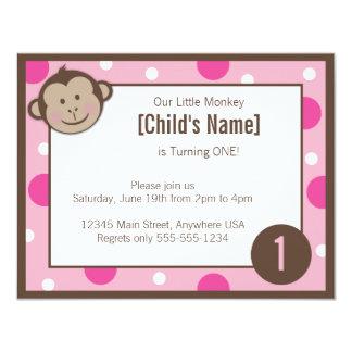 """Monkey Girl Pink Birthday Invitation 4.25"""" x 5.5"""