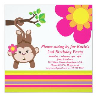 Monkey Girl (Pink) Birthday Party Invitation